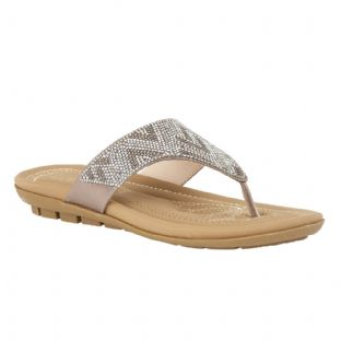 Lotus Womens Patti Silver Flat Toe-Post Sandals